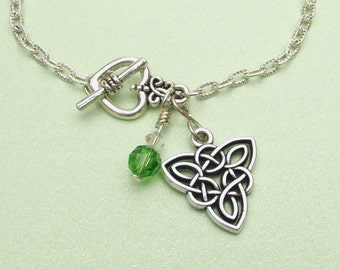 Celtic Triangle Knot Bracelet with Green Preciosa Crystal. Irish, Pagan, Nature, Ancient