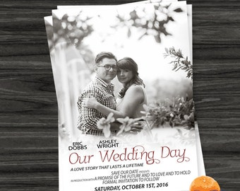 Save the Date Wedding Invitation, Printable Save Our Date Invitation, Digital Invite, Movie Poster Save The Date, Wedding, Save Date Card