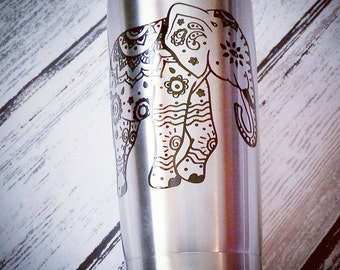 Tribal Elephant Stainless Steel Tumbler (20 oz)