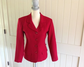 Vintage RED BLAZER by Stephenie Andrews 100%Wool Size 6
