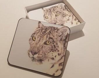 Snow Leopard Coasters