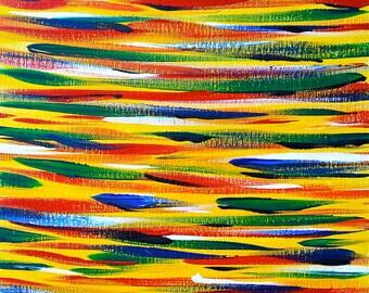 "Original abstract acrylic painting ""Yellow Reflection"" (Reflection Series) by Hideo Kunimatsu"