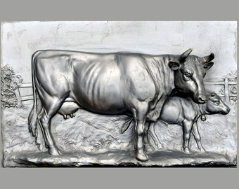 Bronze relief, COW, silvered