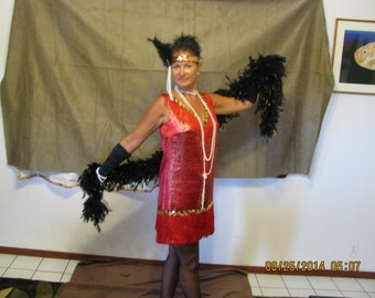 20's Flapper costume in Red/Gold includes dress, boa, gloves, hairpiece, jewelry