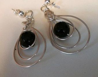 Black Onyx 935 Sterling Silver Earrings