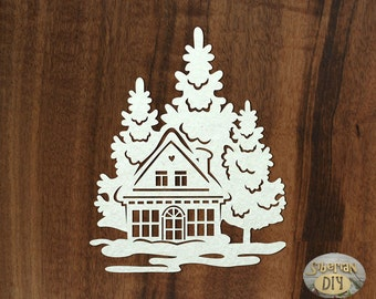 "Laser Cut Chipboard ""House in the woods"""