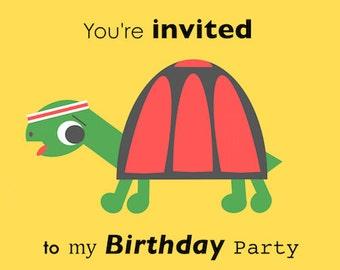 Happy Tortoise Birthday Invite