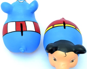 superhero piggy bank set of two superman captain america comic piggy