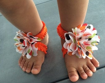 Bow-nita Baby Orange Frilly Stretchy Ribbon, Black/Green/Orange Polka Dot Bow, Baby Barefoot Sandals, Baby Footless Sandals