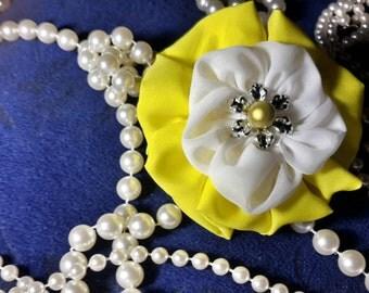 White and Yellow Chiffon fabric flower hair tie