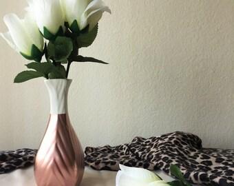 Beautiful Hand Painted Rose Gold Ceramic White Vase