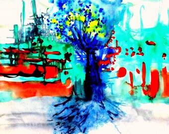 "Illustration color ""Blue tree"""