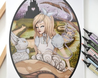 """Art print Promarkers """"The dreams of Alice"""" color - Alice in the Wonderland-"""