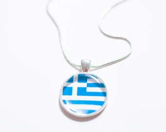 Greek flag necklace, Greek necklace, Greek pendant, Greek jewelry, flag necklace, silver necklace, flag jewelry,gift for women, gift