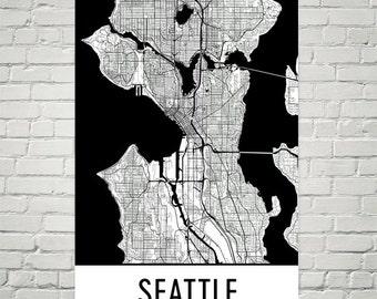 Seattle Map, Seattle Art, Seattle Print, Seattle WA Art Poster, Seattle Wall Art, Seattle Gift, Birthday, Decor, Modern, Art