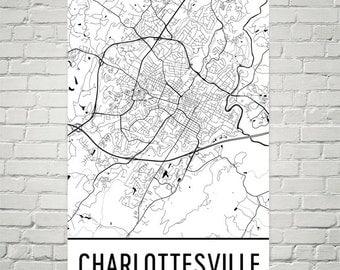 Charlottesville VA Map, Charlottesville Print, Charlottesville Virginia Art, Charlottesville Wall Art, Map of Charlottesville VA, Gift