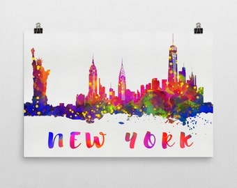 New York Skyline New York Skyline Canvas, New York Skyline Art, New York Watercolor Skyline, Skyline of New York, Art, Print, Gift