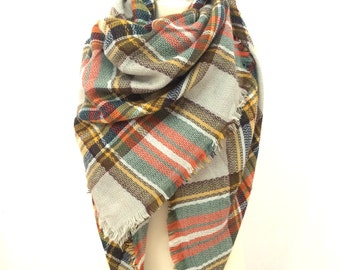 Plaid Blanket Scarf, Winter Scarf, Plaid Scarf, Chunky Scarf, Oversized Scarf, Tartan Scarf, Blanket Plaid Scarf, Plaid Blanket Scarf Wool