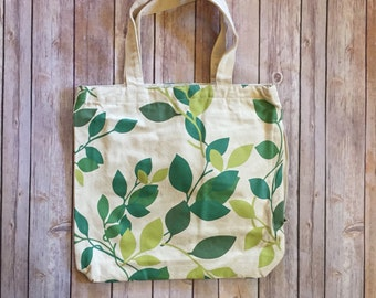 Eco Friendly Side Zipper Canvas Tote Bag - Fall Leaves Design - Free Shipping