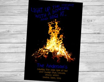 Bonfire Invitation Adult Bonfire Light up Party Birthday Invite personalised Fire invitation