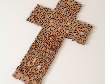 "11"" Padre Nuestro Cross Oracion Our Father Prayer Wood Cross Wall Decoration Baptism Christening Favors Spanish Prayer"