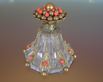 Czech Perfume Bottle With Filigree Decoration - 30's