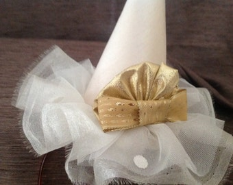 Cone hat fascinator in pale Gold with gold trim Christmas party hat