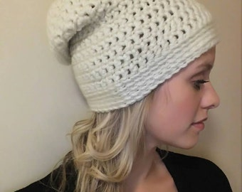 Super soft cream coloured Slouchy hat