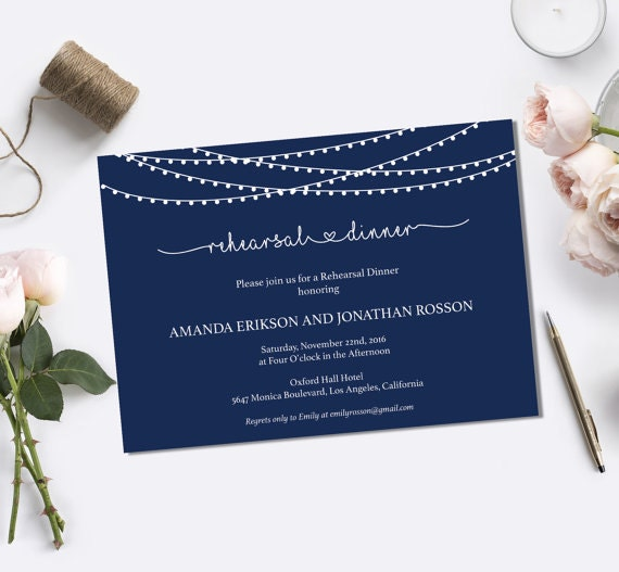 Navy Blue String Lights Rehearsal Dinner Invitations & Wedding Dinner Invitations - Navy Dinner Invites PDF Instant Download #WDH0018