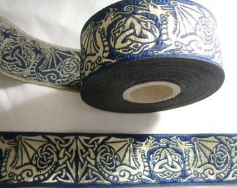 Trim in dark blue with golden Dragon, Jacquard Lace, Celtic Trim for Medieval and Renaissance, French Hood