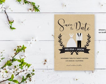 Wedding Save the Date Template, Printable Save the Date Card, Instant Download