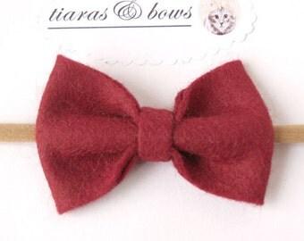Girls The Classic hair bow /wool blend / Wine / Burgundy/ baby Hair Bow / Women headband / newborn / nylon headband / hair accessories
