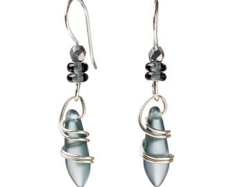 Blue Sterling Silver Earrings, Dangle Earrings, Drop Earrings, Sterling Silver, Gift for Her, Gifts, Birthday Gift, Free Shipping