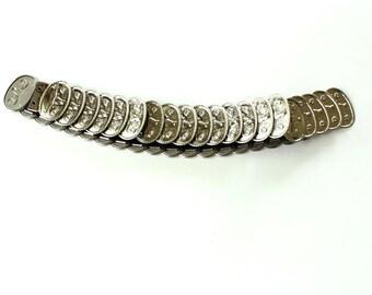 silver cinch belt with longhorn steer pattern . vintage silver stretch / fish scale belt . country rock belt . vintage cinch belt