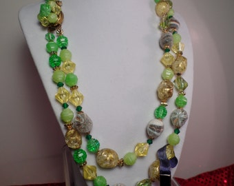 1950's West Germany Bead Necklace with Great Colors!