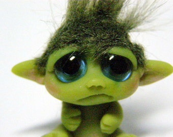 "Pouty Baby Goblin Trollfling Troll mini doll ""Chase"" by Amber Matthies"