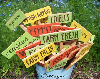 SALE! Garden Stakes,  Garden Signs, Herbs & Vegetables, Handpainted, Custom Sign, Plant Labels, Gift For Gardeners