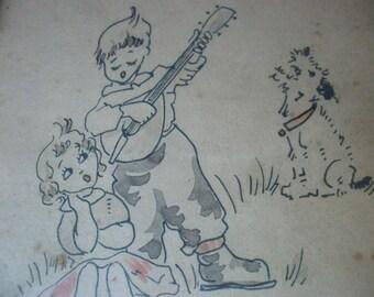 French C1930 Ink Drawing Kids & Terrier Dog Framed Glazed