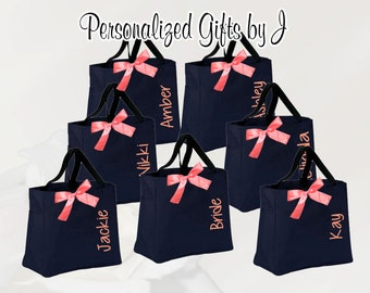 9 Personalized Wedding Totes, Bridesmaid Gift, Tote Bags- Embroidered Tote- Maid of Honor Gift- Name Tote- Mother of the Bride/ Groom
