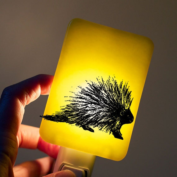 Porcupine Night light on Lemon Yellow Fused Glass Nightlight - Gift for Baby Shower or Nature Lover - Woodland Animal