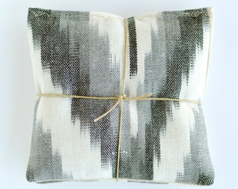 Lavender Sachets in Ikat Shades of Grey Cotton and Linen Pillows - Organic Lavender Sachets Set of 2 Natural Home Wedding Favors