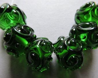 Handmade Glass Green Lampwork Beads Ericabeads Dark Green Scrolled Sparklies (6)
