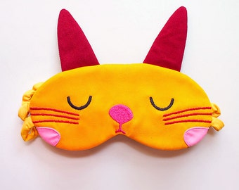 Rabbit sleep mask, Bunny eyemask, Sleep Eye Mask, cute sleeping mask, blindfold, cosplay mask, beauty sleep mask, Chubby Bunny - YELLOW