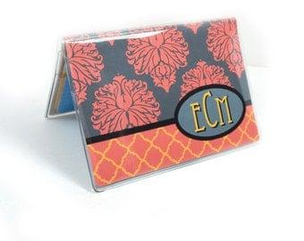 monogram mini debit card holder - Coral Damask - personalized wallet - hipster wallet - credit card case - business card case or holder
