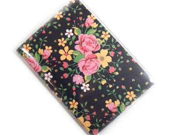 Passport cover - Fresh Floral in black - passport holder travel accessory - vacation - pretty vintage floral - pink and black sweet