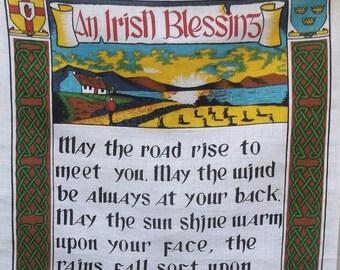 Vintage Irish Blessing Linen Tea Towel by Fingal / Ireland Souvenir kitchen towel - Wall Hanging