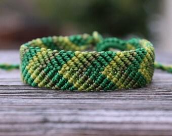 Micro-Macrame Chevron Bracelet - Greens