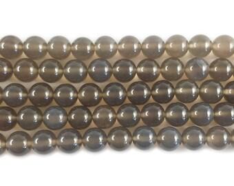 Smoke Gray Agate Round Gemstone Beads