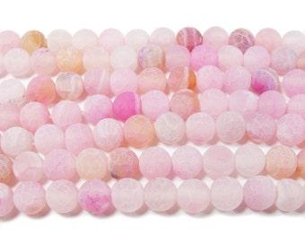 Light Pink Matte Agate Round Gemstone Beads