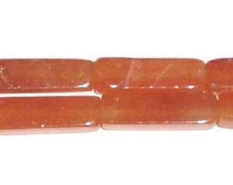 Red Aventurine Long Cube Gemstone Beads